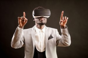 dancing man in virtual reality headset